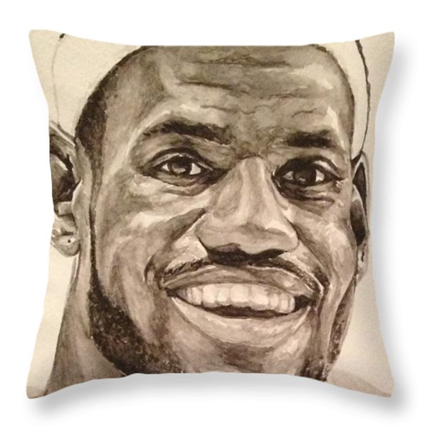 Lebron James Throw Pillow by Tamir Barkan