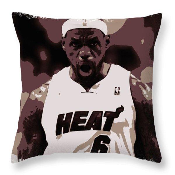 Lebron James Victory Celebration Throw Pillow by Florian Rodarte