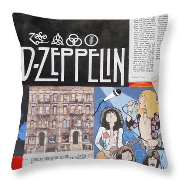 Led Zeppelin Past Times Throw Pillow by Donna Wilson