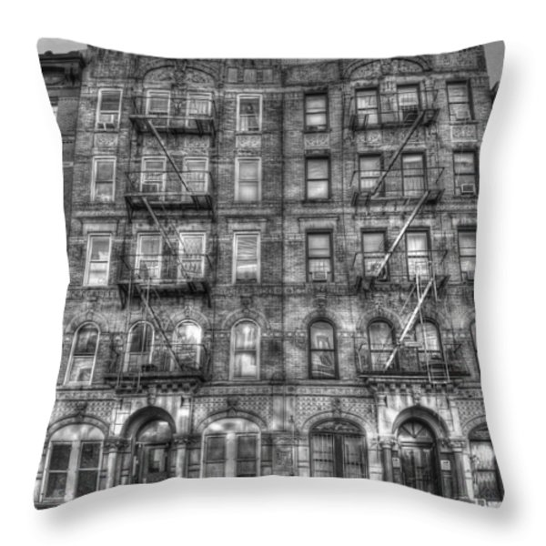 Led Zeppelin Physical Graffiti Building In Black And White Throw Pillow by Randy Aveille