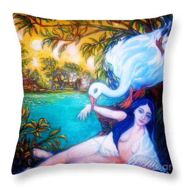 Leda And The Swan Throw Pillow by Gunter  Hortz