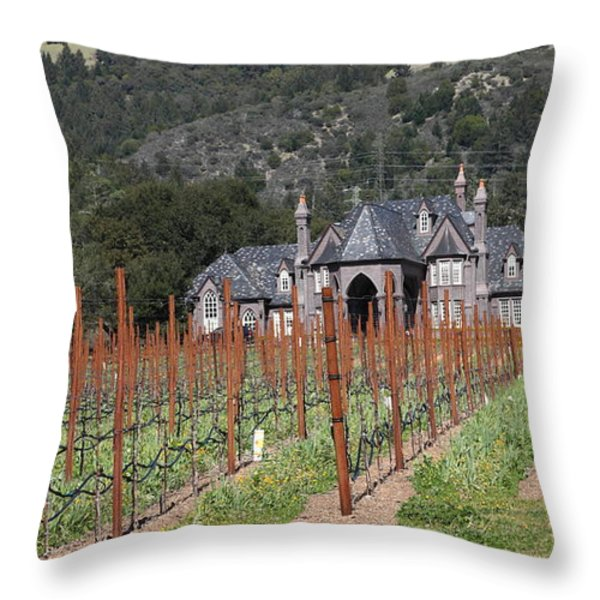 Ledson Winery and Vineyard in Late Winter Just Before The Bloom 5D22192 Throw Pillow by Wingsdomain Art and Photography