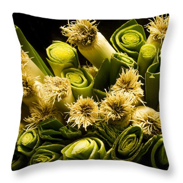 Leeks Throw Pillow by Jean Noren