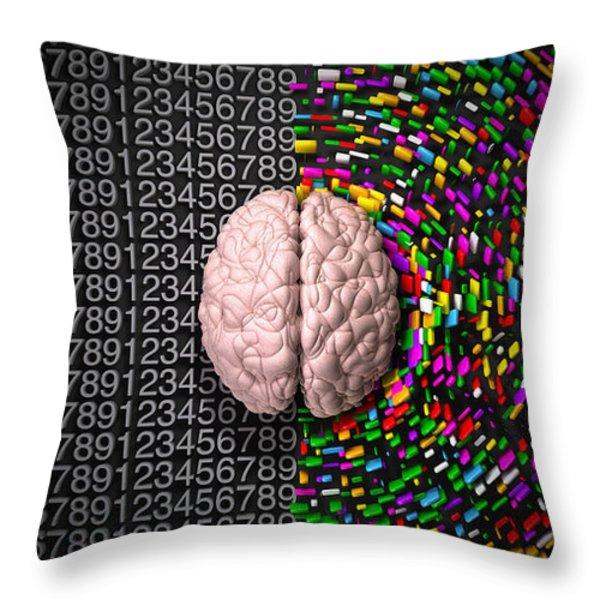 Left Brain Right Brain Throw Pillow by Allan Swart