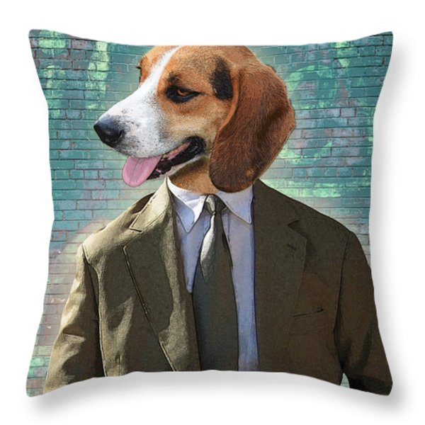 Legal Beagle Throw Pillow by Nikki Smith