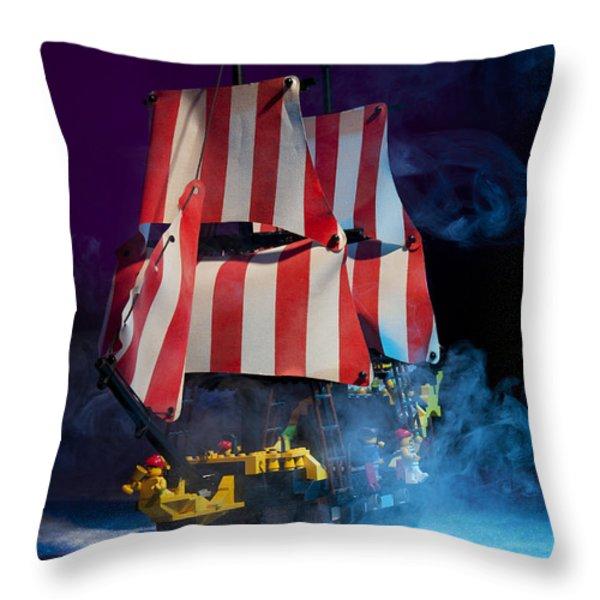 Lego Pirate Ship Throw Pillow by Samuel Whitton