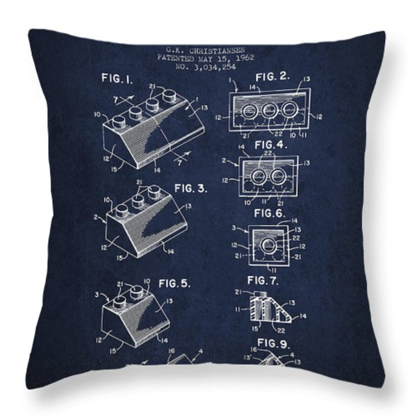 Lego Toy Building Blocks Patent - Navy Blue Throw Pillow by Aged Pixel