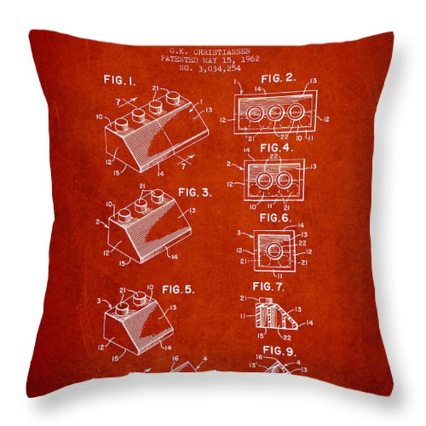 Lego Toy Building Blocks Patent - Red Throw Pillow by Aged Pixel