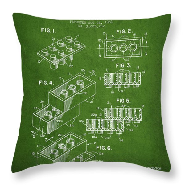 Lego Toy Building Brick Patent - Green Throw Pillow by Aged Pixel