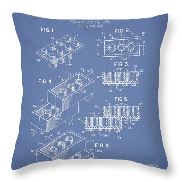 Lego Toy Building Brick Patent - Light Blue Throw Pillow by Aged Pixel