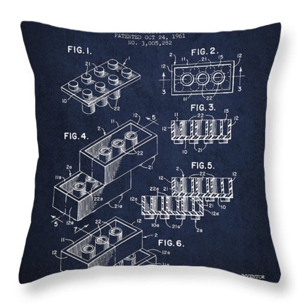 Lego Toy Building Brick Patent - Navy Blue Throw Pillow by Aged Pixel