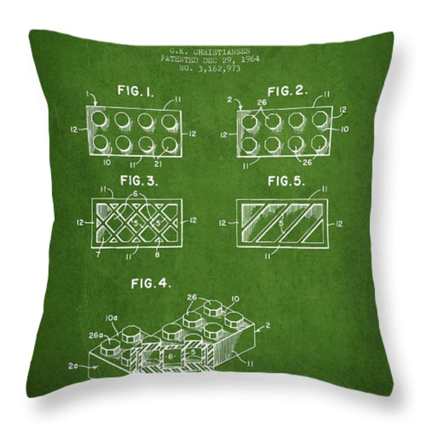 Lego Toy Building Element Patent - Green Throw Pillow by Aged Pixel
