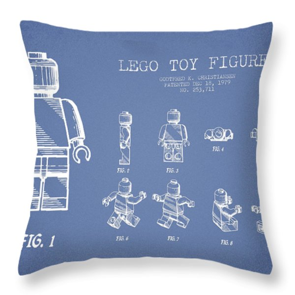 Lego Toy Figure Patent Drawing From 1979 - Light Blue Throw Pillow by Aged Pixel