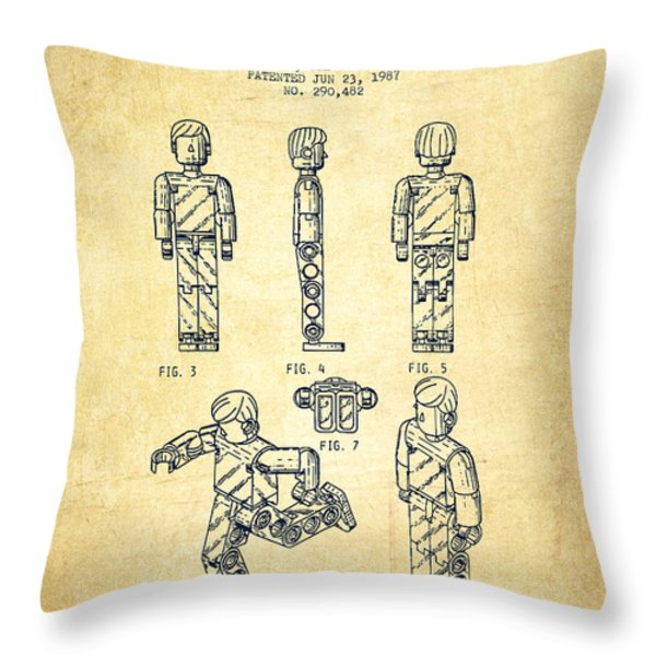 Lego Toy Figure Patent - Vintage Throw Pillow by Aged Pixel