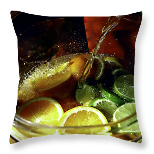 Lemon Limeade Throw Pillow by Camille Lopez