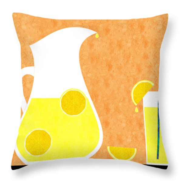 Lemonade And Glass Orange Throw Pillow by Andee Design