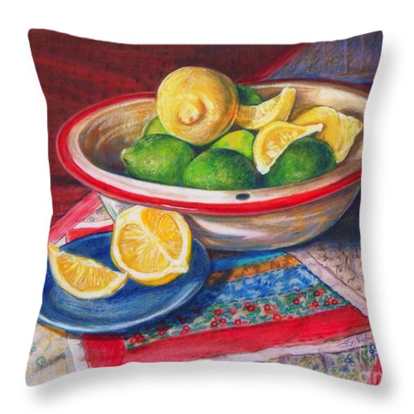 Lemons and Limes Throw Pillow by Joy Nichols