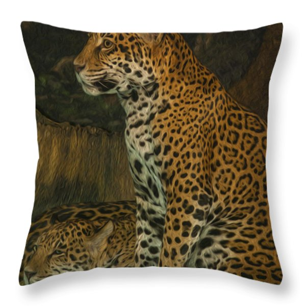 Leo And Friend Throw Pillow by Jack Zulli