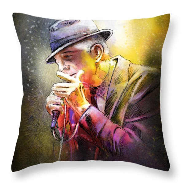 Leonard Cohen 02 Throw Pillow by Miki De Goodaboom