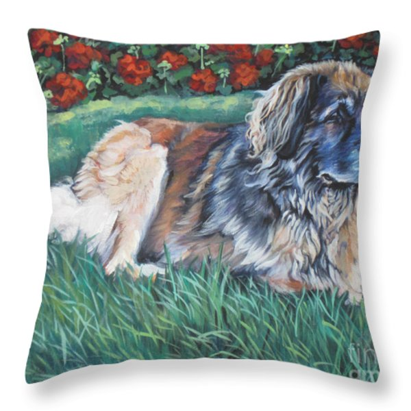 Leonberger Throw Pillow by Lee Ann Shepard