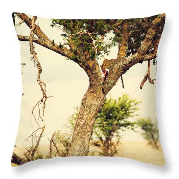Leopard Eating His Victim On A Tree In Tanzania Throw Pillow by Michal Bednarek