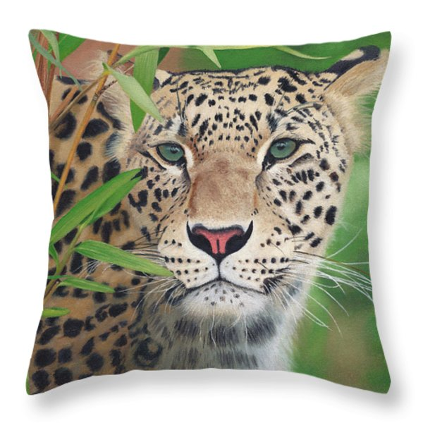 Leopard In The Woods Throw Pillow by Alina Kaplanov