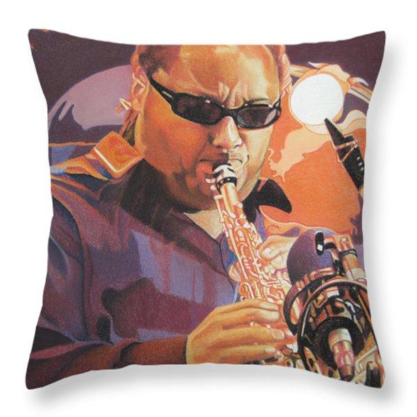 Leroi Moore Purple And Orange Throw Pillow by Joshua Morton