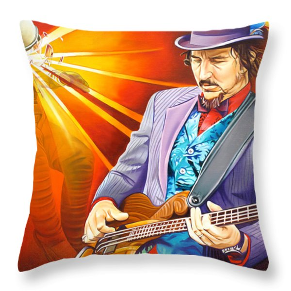 Les Claypool's-Sonic Boom Throw Pillow by Joshua Morton