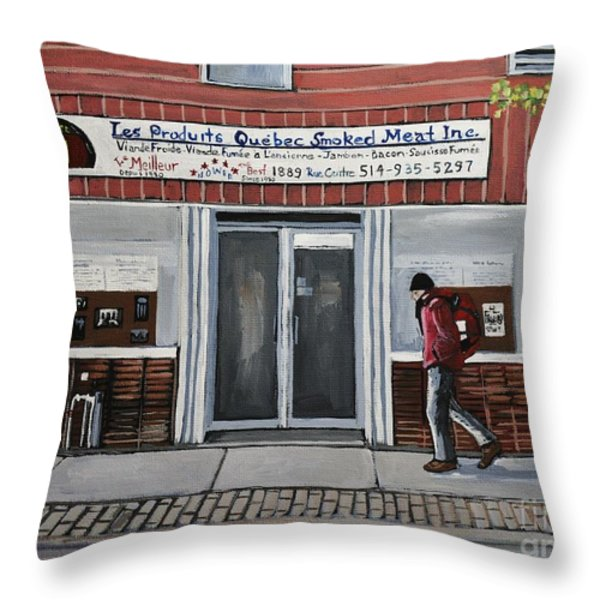 Les Produits Quebec Smoked Meat Inc Throw Pillow by Reb Frost