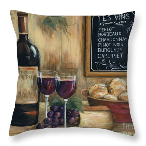 Les Vins Throw Pillow by Marilyn Dunlap