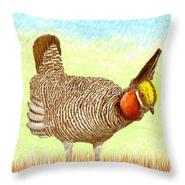 Lesser Prairie Chicken Throw Pillow by Jack Pumphrey