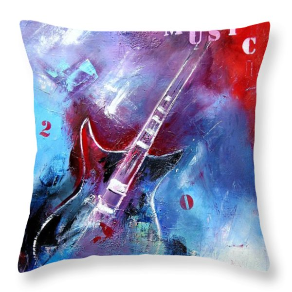 Let The Music Play Throw Pillow by Elise Palmigiani