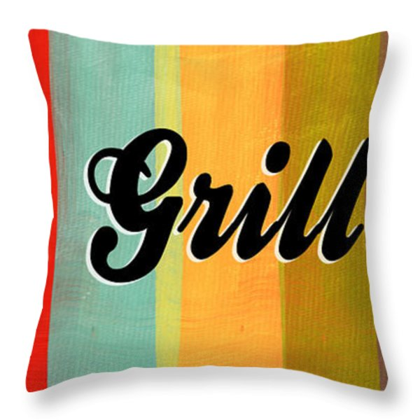 Let's Grill This Throw Pillow by Linda Woods