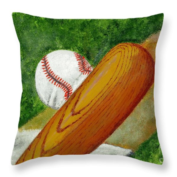 Let's play ball Throw Pillow by Declan Leddy