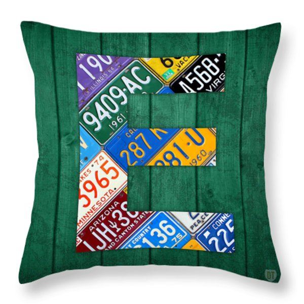 Letter E Alphabet Vintage License Plate Art Throw Pillow by Design Turnpike