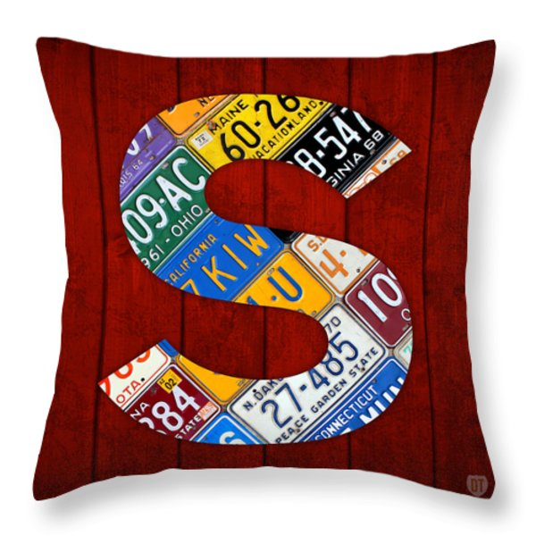 Letter S Alphabet Vintage License Plate Art Throw Pillow by Design Turnpike