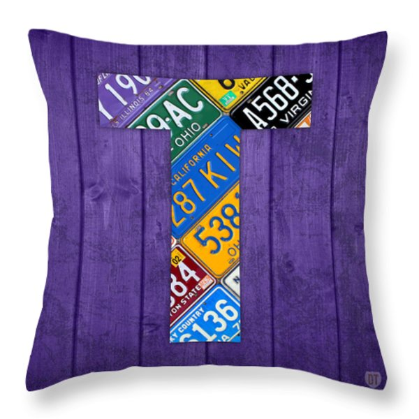 Letter T Alphabet Vintage License Plate Art Throw Pillow by Design Turnpike