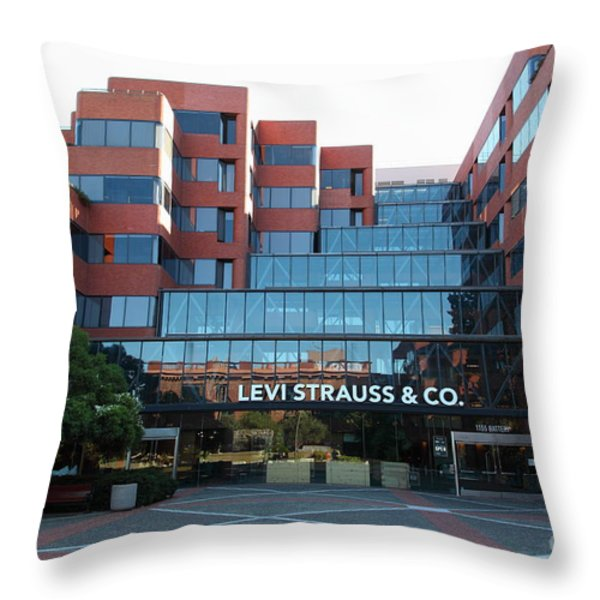 Levi Strauss and Company Plaza At The San Francisco Embarcadero 5D26202 Throw Pillow by Wingsdomain Art and Photography