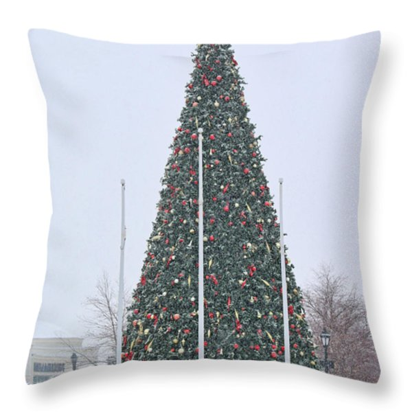 Levis Commons Christmas Tree Throw Pillow by Jack Schultz