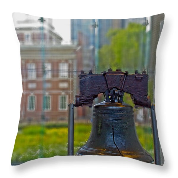 Liberty Bell Throw Pillow by Tom Gari Gallery-Three-Photography