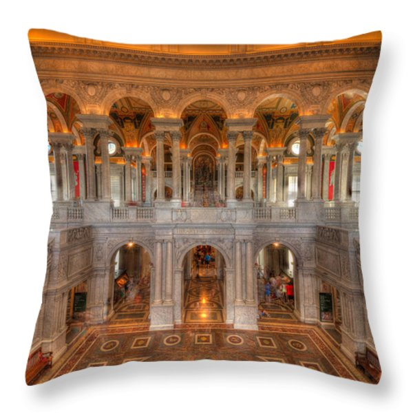 Library Of Congress Throw Pillow by Steve Gadomski