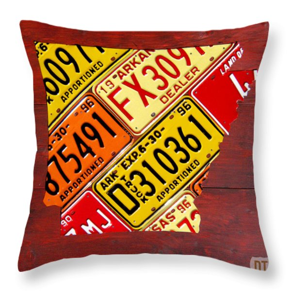 License Plate Map of Arkansas by Design Turnpike Throw Pillow by Design Turnpike