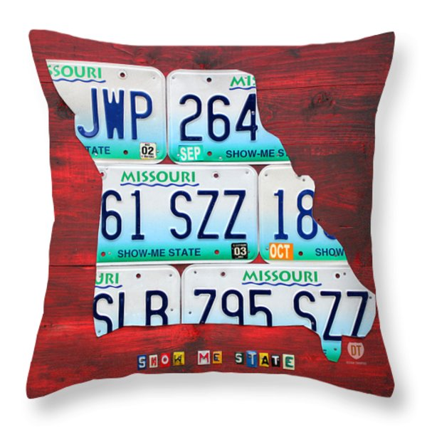 License Plate Map of Missouri - Show Me State - by Design Turnpike Throw Pillow by Design Turnpike