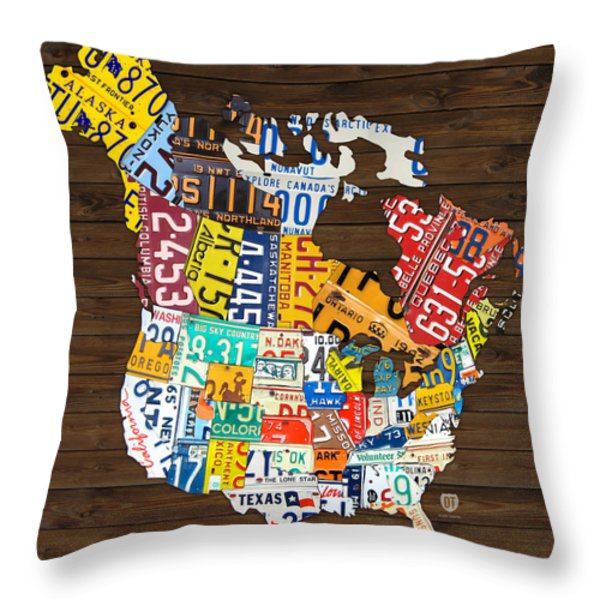 License Plate Map of North America - Canada and United States Throw Pillow by Design Turnpike