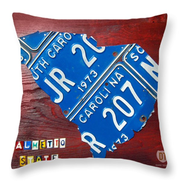 License Plate Map of South Carolina by Design Turnpike Throw Pillow by Design Turnpike