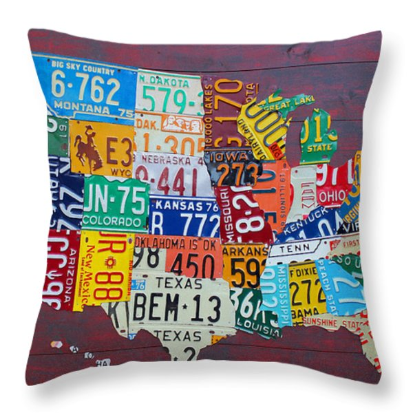 License Plate Map of The United States Throw Pillow by Design Turnpike