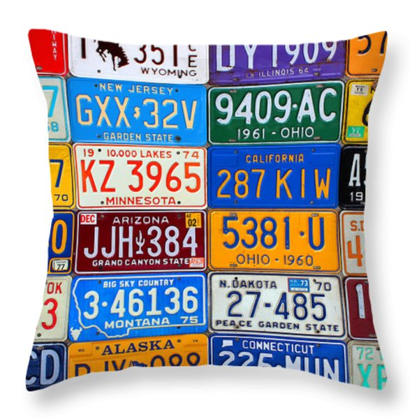 License Plates Of The Usa - Our Colorful American History Throw Pillow by Design Turnpike