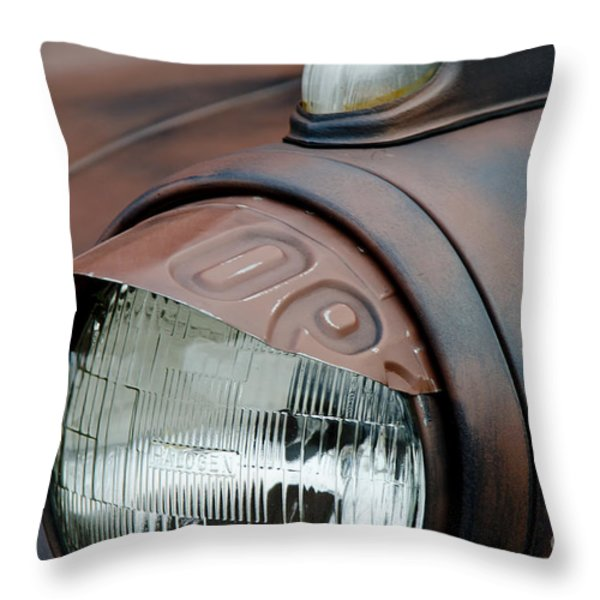 License Tag Eyebrow Headlight Cover  Throw Pillow by Wilma  Birdwell