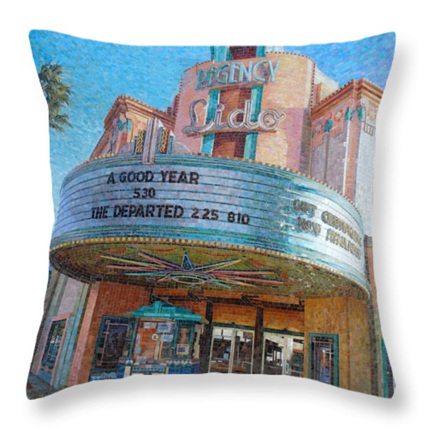 Lido Theater Throw Pillow by Mia Tavonatti