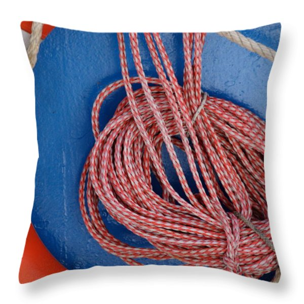 Life Belt And Line Throw Pillow by Ulrich Kunst And Bettina Scheidulin